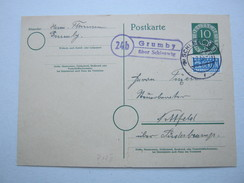 1953 , GRUMBY über Schleswig  , Klarer Landpoststempel Auf Karte