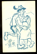 Man And Woman Dancing / Cancel Of Hotel Zlatorog Bohinj On Postcard / Postcard Circulated, 2 Scans - Künstlerkarten