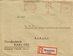 SBZ 1947 R-Brief Mit MaWSt. Firma ENS Porzellan Ab Rudolstadt Volkstedt  [h253]