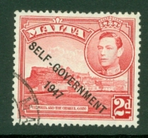 Malta: 1948/53   KGVI 'Self Government' OVPT    SG238    2d   Scarlet     Used - Malta (...-1964)