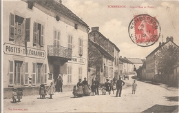 Cpa 21 Sombernon Grand Rue Et Poste Telegraphes Belle Animation Petit Prix - Other Municipalities