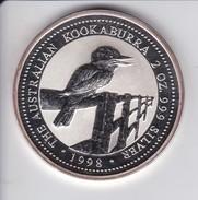 MONEDA DE PLATA DE AUSTRALIA DE 2 DOLLARS - 2 ONZAS DEL AÑO 1998 KOOKABURRA (SILVER-ARGENT) PAJARO-BIRD - Australia