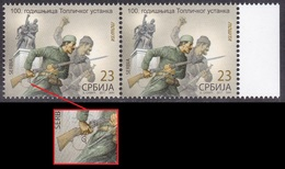 Serbia 2017 One Century Of Toplica Uprising, The Great War, WWI, Stamp With Hidden Sign Of ENGRAVER G In Pair MNH