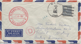 US Air Mail Cover C.U.S.Navy 9/7/1953 With Red Canc.Danish Red Cross Hospital Ship Jutlandia To Austria Vienna PR4083