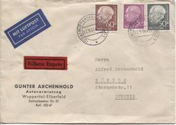 BRD Luftpost Eilbote Exprès Brief C.Wuppertal-Eberfed 10/9/1954 N.Zürich Schweiz-Suisse PR4084
