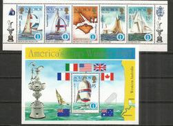 America's Cup : Voiliers French Kiss France,US Stars And Stripes,etc. Un Bloc-feuillet + Série Neufs ** îles Solomons