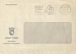 """Motiv Brief  """"Stadt Thun - Arbeitsamt""""           1977"""