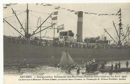 Anvers Inauguration Solennelle Des Nouveaux Bassins Intercalaires 15 Aout 1907 La Foule Sur Le Steamer..  (5254) - Antwerpen