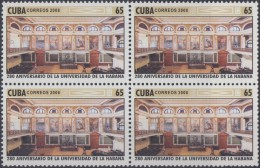 2008.26 CUBA MNH 2008. 280 ANIV UNIVERSIDAD DE LA HABANA. HAVANA UNIVERSITY AULA MAGNA. BLOCK 4.