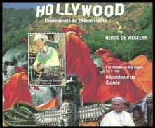 GUINEA 1998 FILMS FILMSTARS ROY ROGERS COWBOYS INDIANS POPE M/SHEET MNH