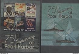 PALAU, 2016, MNH, WWII, PEARL HARBOR, SHIPS, FLAGS, BATTLESHIPS, SHEETLET+ S/SHEET, HIGH FV