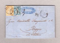 Schweiz 1863-06-01 Birrweil AG Faltbrief Nach Reggio Italien Mischfrankatur Strubel 20Rp Und Sitzende 10Rp - 1854-1862 Helvetia (Non-dentelés)