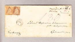 Schweiz 1856 Stempelpapier 15Rp Nachnahmebrief Bezirksgericht Andelfingen Nach Guntalingen Mit Strubel 5 Und 20Rp Teils. - Lettres & Documents
