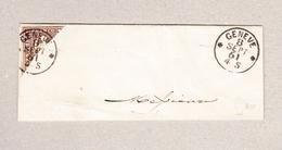 Schweiz 1858 5Rp Zu.#22G Diagonal Halbierte Linke Obere Hälfte Auf Briefteil Gest. Genève 8 Sept 1861 Attest Rellstab - 1854-1862 Helvetia (Non-dentelés)