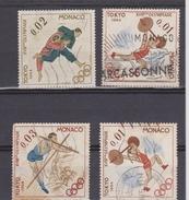 MONACO 4 TIMBRES Des  JEUX OLYMPIQUES DE TOKYO 1964