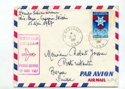 Lettre  Premier Vol  Swissair Paris Berne