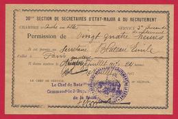 Permission De Vingt-quatre Heures Datée De 1917 - 1914-18