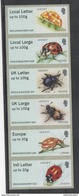 JERSEY, 2016, MNH, INSECTS, BEETLES,POST AND GO ATM LABELS, 6v