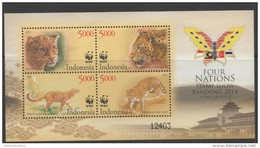 INDONESIA, 2014, MNH, WWF, LEOPARDS, S/SHEET