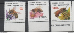 TURKISH CYPRUS, 2016,  MNH, INSECTS, BEES, FLOWERS, 3v
