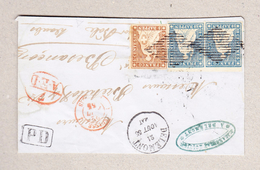 Schweiz 1855 Brief Vorderseite Von Delémont Nach Besancon Mit 5 Und 10Rp #22A,23A Bogenrand-Paar Sauber Gest. Vollrandig - Briefe U. Dokumente