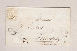 Schweiz NE St Aubin 1863-01-29 Fingerhutstempel Auf Falt-Teilbrief Nach Porrentruy Mit 2Rp Strubel (etwas Angeschnitten) - Briefe U. Dokumente