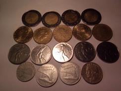 LOT DE 18 MONNAIES ITALIENNES ANNEES 1952 A 1990 ET AUTRES - Vrac - Monnaies