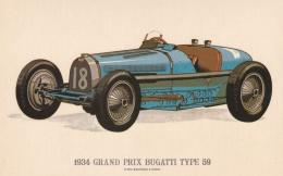 Car: 1934 Grand Prix Bugatti Type 59 - Collectors Reproductions Postcard Mint (T9A7)