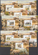 C37 2011 BURUNDI FAUNA WILD ANIMALS LES RHINOCEROS 8BL MNH