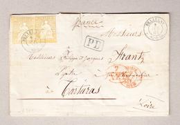 Schweiz Bellelay 8.10.1861 Briefteil Ohne Inhalt Nach Tartaras Frankreich Mit 2 X 20Rp Strubel - 1854-1862 Helvetia (Non Dentellati)
