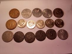 LOT DE 17 MONNAIES DIVERSE RUSSIE BRESIL ANNEES 1957 A 1990 ET AUTRES - Vrac - Monnaies