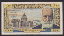 """Billet 5 NF - 1962 - """"Victor Hugo"""" - 5 NF 1959-1965 ''Victor Hugo''"""
