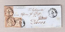 Schweiz 1859 Eichberg Balkenstempel, Altstädten 3.2.1959 Brief Nach Davos Mit 3 X 5Rp Strubel - Lettres & Documents