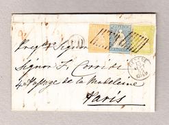 Schweiz 1854 Strubel 10, 20, 30Rp Zu# 23A, 25B, 26Aa Auf Faltbrief Nach Paris Attest Rellstab Bitte Lesen - 1854-1862 Helvetia (Non-dentelés)