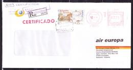E-25, Spanien; Freistempel + ATM MiNr. 35 (35 PTS) Auf Brief - Einschreiben Nach Deutschland - 1991-00 Briefe U. Dokumente