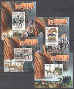 C44 2012 BURUNDI TRANSPORTATION HORSES LES CHEVAUX 4LUX BL MNH