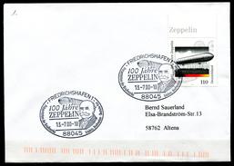"""Germany 2000 Sonderbeleg Luftschiffe,Zeppeline Mit Mi.Nr.2128 U. SST""""Friedrichshafen-100 Jahre ZEPPELIN,.""""1 Beleg"""