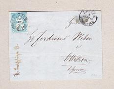 Schweiz Briefstück  Zürich 4.9.1858 Mit 10Rp Strubel Vollrandig - 1854-1862 Helvetia (Non-dentelés)
