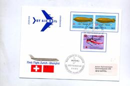 Lettre Premier Vol Swissair Zurich Shanghai Cachet