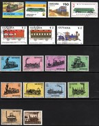 Trains Used And Mounted Mint Stamps
