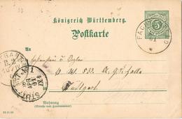 23389. Entero Postal FASCHENFELD (Wurtemberg) 1901 To Stuttgart