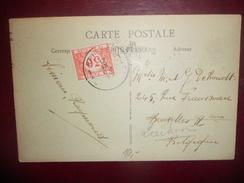 Belgique Carte Taxe A Bruxelles 1925 En Provenance De Paris