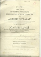 SLOVAKIA  --  BRATISLAVA  --  1928  --  DIPLOMA  --  DOCTORIS UNIVERSAE MEDICINAE  --  I. BONDORA  --   TAX STAMP - Diplome Und Schulzeugnisse