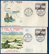 France - Variété Pont De Tancarville En Bleu Clair Sur 1er Jour + 1 Normal Bleu Noir En 1959 Ref F380