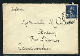 France - Enveloppe De St Etienne Pour Port Dinorwic ( GB) En 1908 , Affr. Semeuse 25c Bleu Ref F382 - Postmark Collection (Covers)