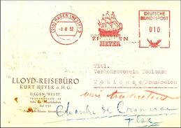1952 Alemania. Franqueo Mecanico. HEYER. LLoyd Reisebüro. Barco -Ship