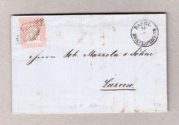Schweiz Strubel 15Rp Zu#24F Einzelfrankatur Auf Brief Nach Luzern Mit Aufgabestempel Basel 22.4.1957 Attest Renggli - 1854-1862 Helvetia (Ungezähnt)