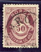NORWAY 1877 Posthorn 50 Øre Used.  Michel 30