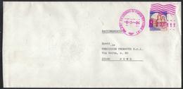 TI61     Italia 1984 Raccomandata Con Castelli £ 1400 Isolato In Tariffa E Annullo Meccanico Viola