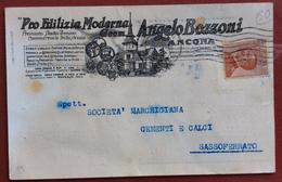 ANCONA PRO EDILIZIA MODERNA ANGELO BOZZONI CARTOLINA PUBBLICITARIA PER SASSOFERRATO IL 4/3/1925